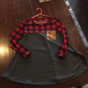 Tops - Buffalo plaid with Grey and gold sequin pocket